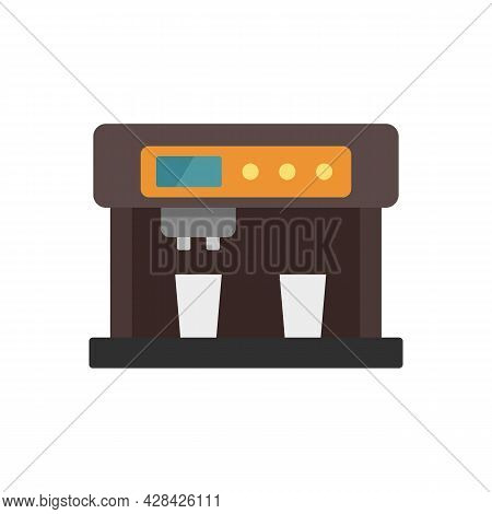 Latte Coffee Machine Icon. Flat Illustration Of Latte Coffee Machine Vector Icon Isolated On White B