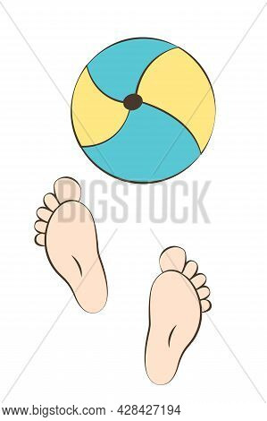Little Children's Legs Dig An Inflatable Ball. The Kid Is Playing Outside. Cute Cozy Poster For Baby