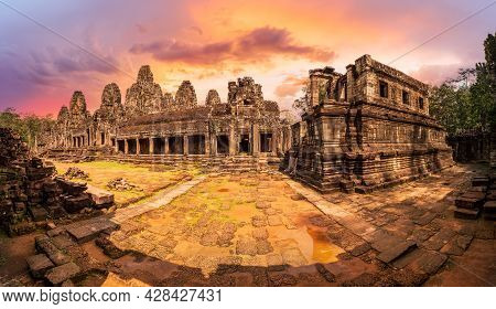 Landscape With Bayon Temple In Angkor Thom, Siem Reap, Cambodia