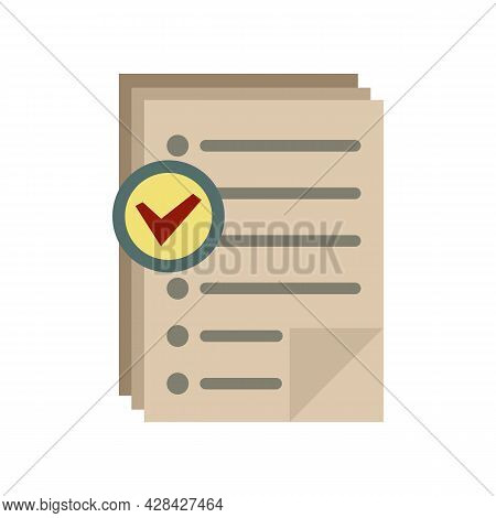 Approved Inventory Papers Icon. Flat Illustration Of Approved Inventory Papers Vector Icon Isolated