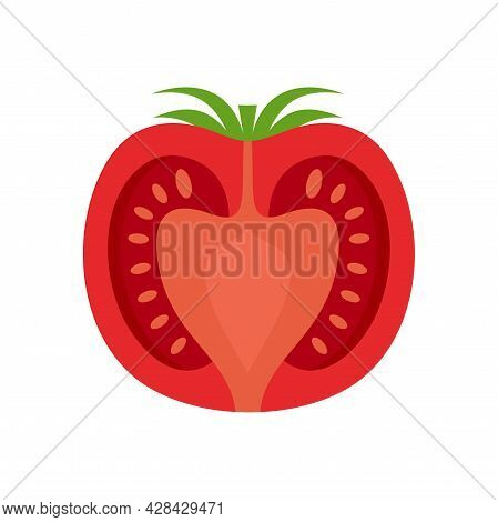 Half Tomato Icon. Flat Illustration Of Half Tomato Vector Icon Isolated On White Background