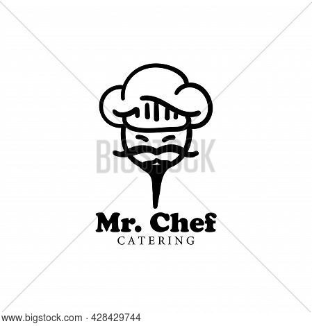 Mr Chef Design Logo Vector. Mr Chef Icon Restaurant