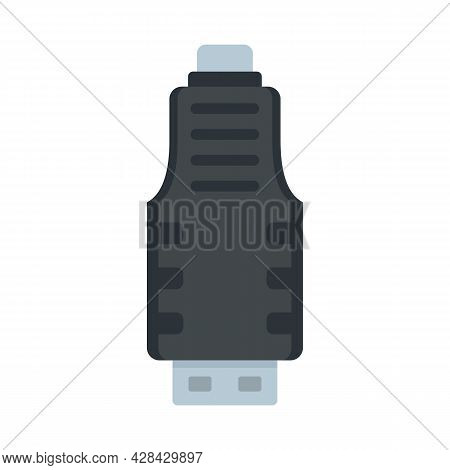 Micro Usb Adapter Icon. Flat Illustration Of Micro Usb Adapter Vector Icon Isolated On White Backgro