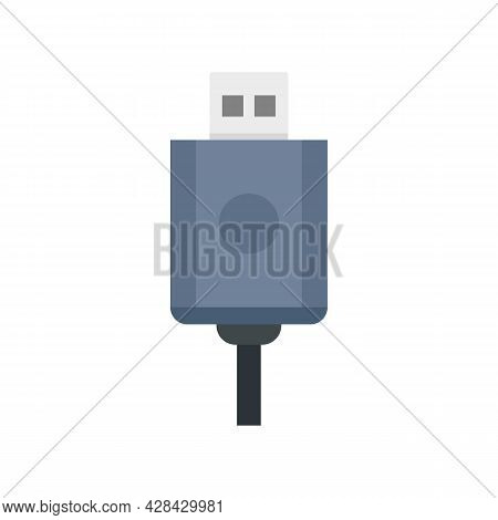 Usb Cable Icon. Flat Illustration Of Usb Cable Vector Icon Isolated On White Background