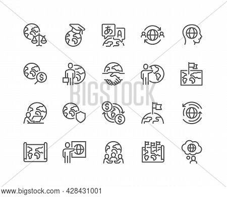 Simple Set Of Global Business Related Vector Line Icons. Contains Such Icons As World Map, Outsource