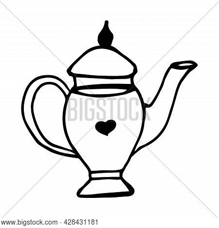 Teapot Vector Icon. Teapot For Tea Ceremonies. Container For Tea. Doodle Kettle. Teapot With A Long