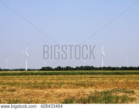 Line Of Wind Generators In Agricultural Field, Farm Landscape With Provision Of Space For Use Of Win