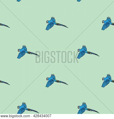 Vector Green Background Tropical Birds, Parrots, Macaw, Exotic Cockatoo Birds. Seamless Pattern Back