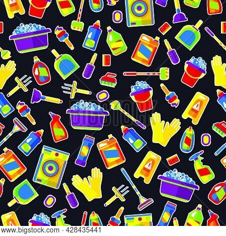 Cleaning, Cleaning Items. Vector Illustration On A Black Background. Design Of Printing On Wrapping