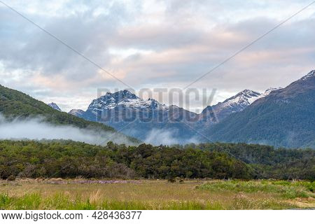 Beautiful Alpine Landscape In A Valley To Milford Sound, New Zealand