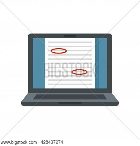 Review Laptop Editor Icon. Flat Illustration Of Review Laptop Editor Vector Icon Isolated On White B