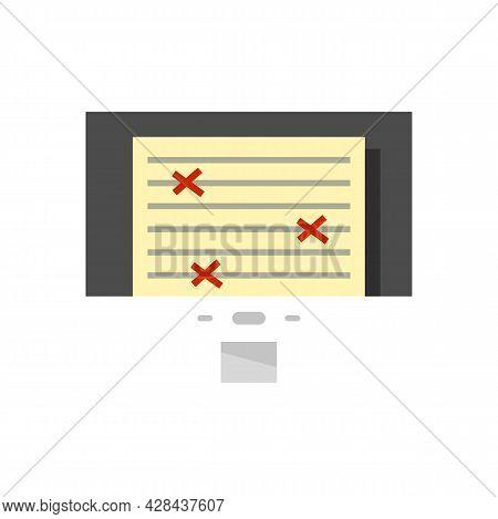 Monitor Document Editor Icon. Flat Illustration Of Monitor Document Editor Vector Icon Isolated On W