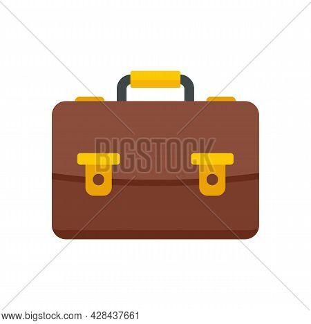 Tutor Leather Bag Icon. Flat Illustration Of Tutor Leather Bag Vector Icon Isolated On White Backgro
