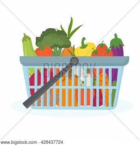 Supermarket Basket With Products Isolated On White. Shopping Basket With Healthy, Fresh, Organic Veg
