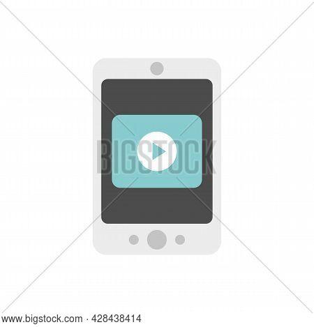 Smartphone Video Lesson Icon. Flat Illustration Of Smartphone Video Lesson Vector Icon Isolated On W