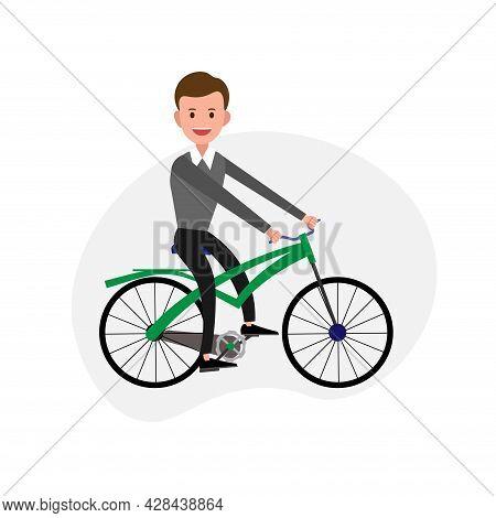 Man Rides A Bicycle Clipart. Man Rides A Bicycle Simple Vector Clipart. Man Rides A Bicycle Isolated
