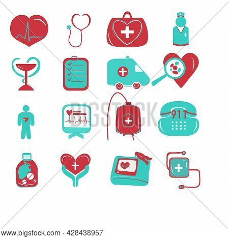 Heart Pulse Plus Icon, Medical Signs Set On White Background.  Heart, Heartbeat Pulse Line And Cross