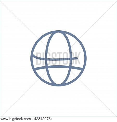 Earth Clipart. Earth Meridians Simple Vector Clipart. Earth Meridians Isolated Clipart.