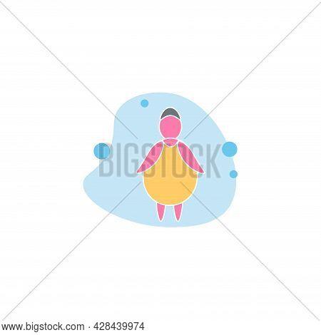 Fat Woman Clipart. Fat Woman Simple Vector Clipart. Fat Woman Isolated Clipart.