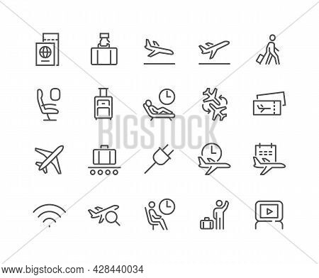 Simple Set Of Airport Related Vector Line Icons. Contains Such Icons As Departure, Tickets, Baggage