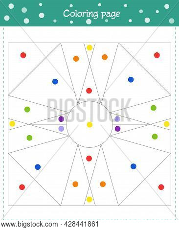 Coloring Pages For Kids. Color In With The Color Shown In The Picture. Vector Illustration