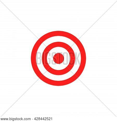 Target Red Icon. Goal Symbol. Marketing Or Business Aim. Vector Illustration Isolated On White