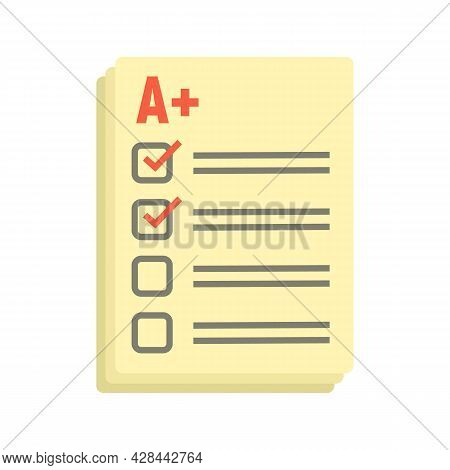 Lesson Paper Test Icon. Flat Illustration Of Lesson Paper Test Vector Icon Isolated On White Backgro