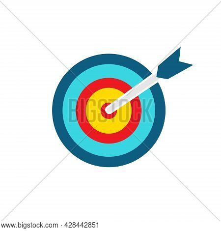 Target Colorful Icon. Goal Symbol With Bow Arrow. Darts Game Element. Marketing Or Business Aim. Vec