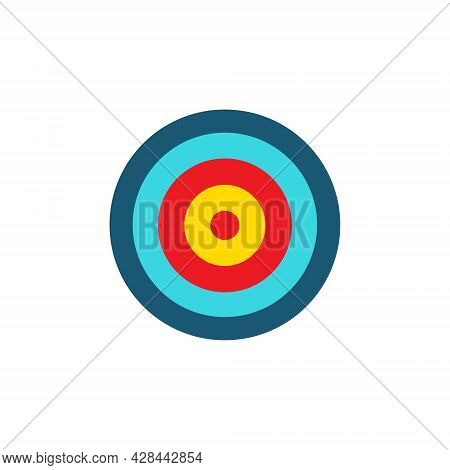 Target Colorful Icon. Goal Symbol. Marketing Or Business Aim. Vector Illustration Isolated On White