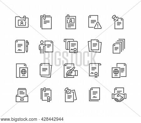 Simple Set Of Documents Related Vector Line Icons. Contains Such Icons As Contract, Passport, Blank
