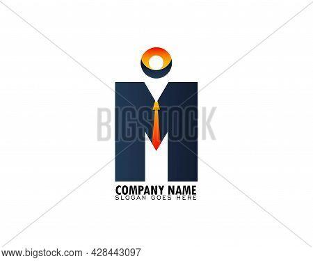M Logo Design, M Symbol With Tie Element, Successful Community Company Association