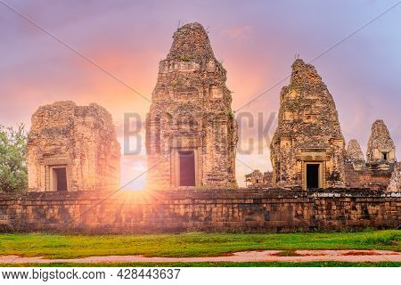 Angkor, Cambodia. Pre Rup Temple At Golden Sunset