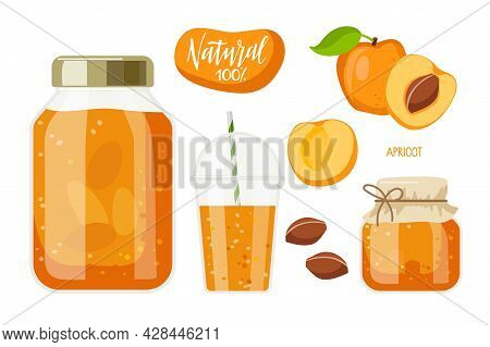 Canned Apricot. Compote And Jam Or Marmalade In Jars, Drink In Glass, Natural 100 Percents Label. Ca