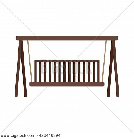 Swing Wood Bench Icon. Flat Illustration Of Swing Wood Bench Vector Icon Isolated On White Backgroun