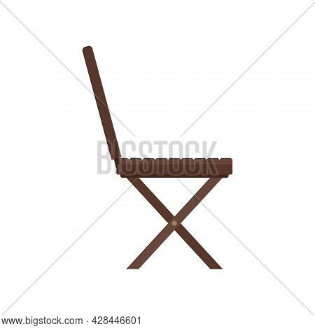 Portable Wood Chair Icon. Flat Illustration Of Portable Wood Chair Vector Icon Isolated On White Bac