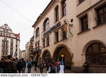 Munich, Germany - January 01, 2011: Hofbräuhaus Am Platzl, A Crowd Of People Near Most Famous Beer R
