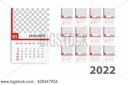 Red Annual Desk Monthly Calendar Template For 2022 Year. Vector Schedule Daily Planner 2022 Year. Mo