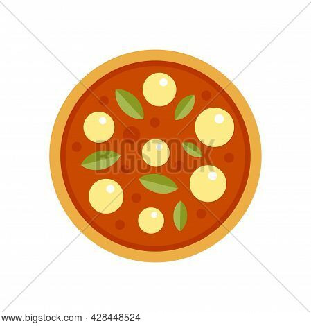 Dinner Pizza Cook Icon. Flat Illustration Of Dinner Pizza Cook Vector Icon Isolated On White Backgro