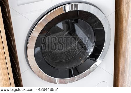 Close-up Washing Machines In Hose, Washing With Hot And Cold Water Keeps Clothes Clean And Trendy.