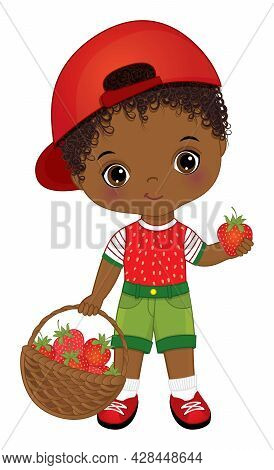 Black Little Boy Carrying A Basket Of Strawberries. Vector Strawberry. Afro Boy Is Curly. African Am