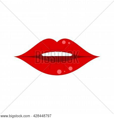 Female Kiss Icon. Flat Illustration Of Female Kiss Vector Icon Isolated On White Background
