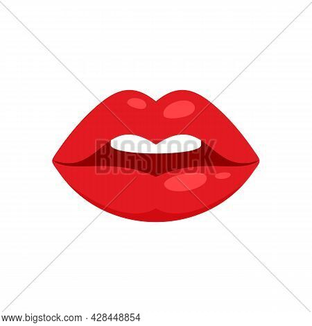 Lip Kiss Icon. Flat Illustration Of Lip Kiss Vector Icon Isolated On White Background