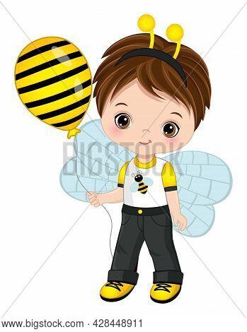 Cute Little Boy Wearing Bee Headband Antenna And Outfit. Vector Bee. Brunette Little Boy Holding Air