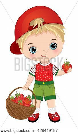 Cute Little Boy Carrying A Basket Of Strawberries. Vector Strawberry. Cute Boy Is Blond. Little Boy
