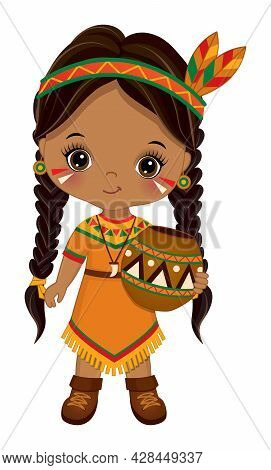 Cute Little Girl Has Pigtails, Wearing Indian Ethnic Clothes And Headband With Feathers. The Little