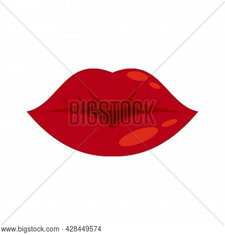 Beauty Kiss Icon. Flat Illustration Of Beauty Kiss Vector Icon Isolated On White Background