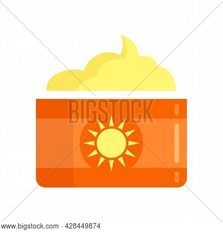 Sunscreen Jar Cream Icon. Flat Illustration Of Sunscreen Jar Cream Vector Icon Isolated On White Bac