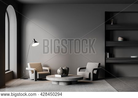 Living Room With Empty Wall, Concrete Floor, Arch Window, Three Shelves In The Niche, Two Armchairs,