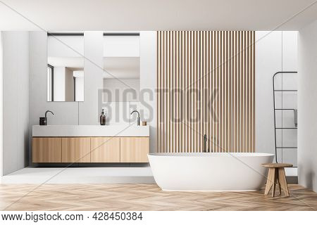 Bathroom Interior With Two Mirrors, Wooden Details And Parquet Style Floor, Pairing With White Walls