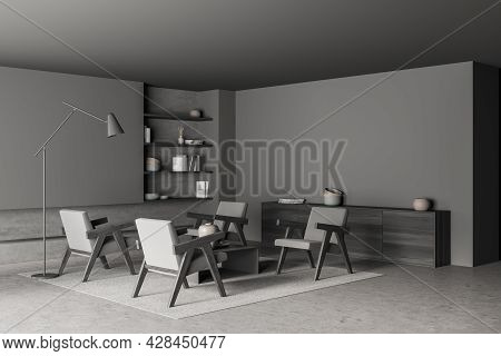 Corner Of Living Room Interior In Shades Of Gray, Having Four Armchairs, Slim Floor Lamp, Niche Book